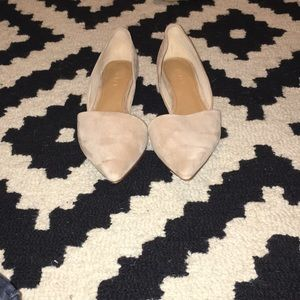 J Crew Suede Leather nude flat d'orsay shoes 7.5